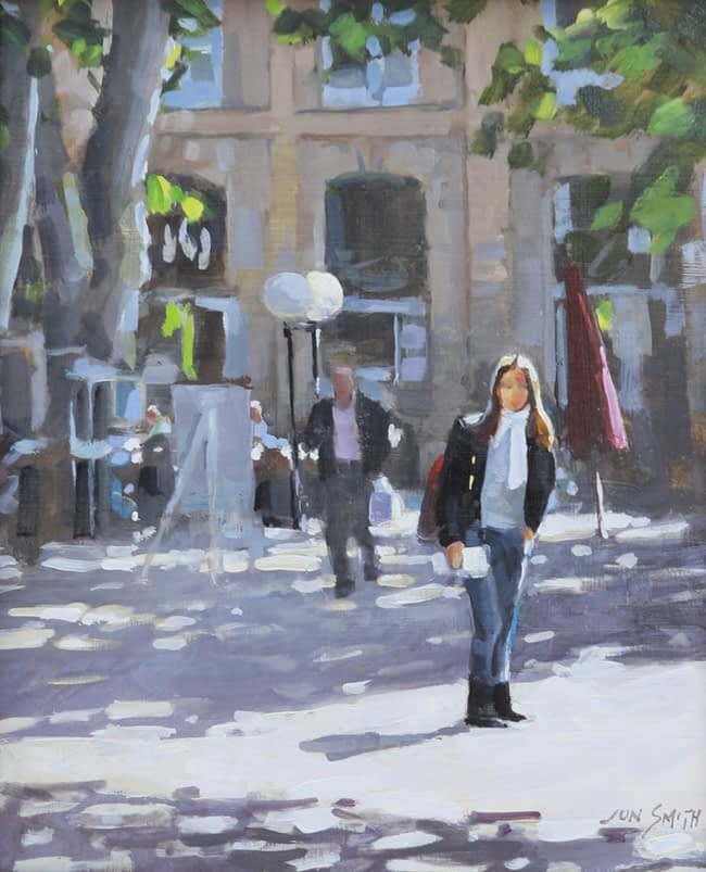 Jon Smith  Cours Mirabeau (AIX) Oil on Board