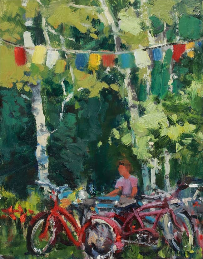 Susie Hyer  Peaceful Park Oil on Panel