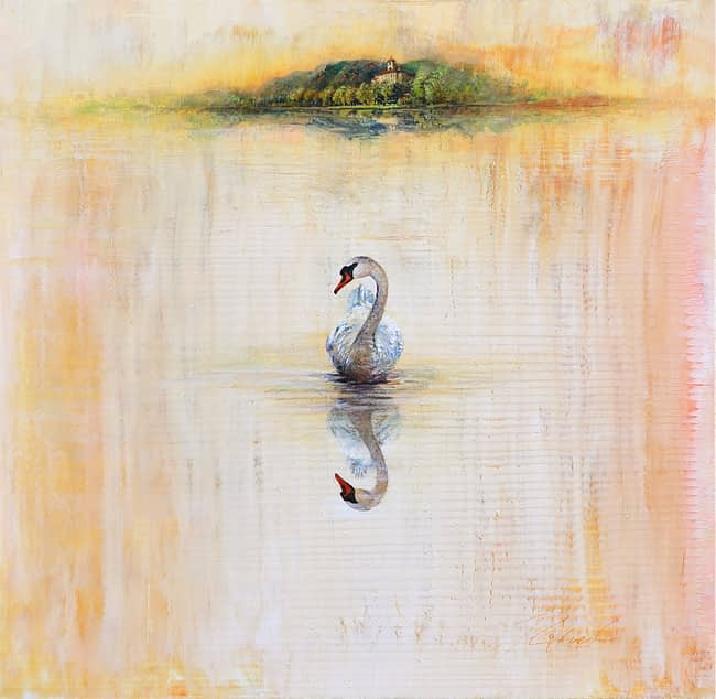 Greg Ragland Painting Broadmoor Swan in Cream Acrylic on Canvas