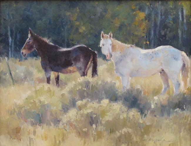 Kate Kiesler Painting Pasture Pals Oil on Board